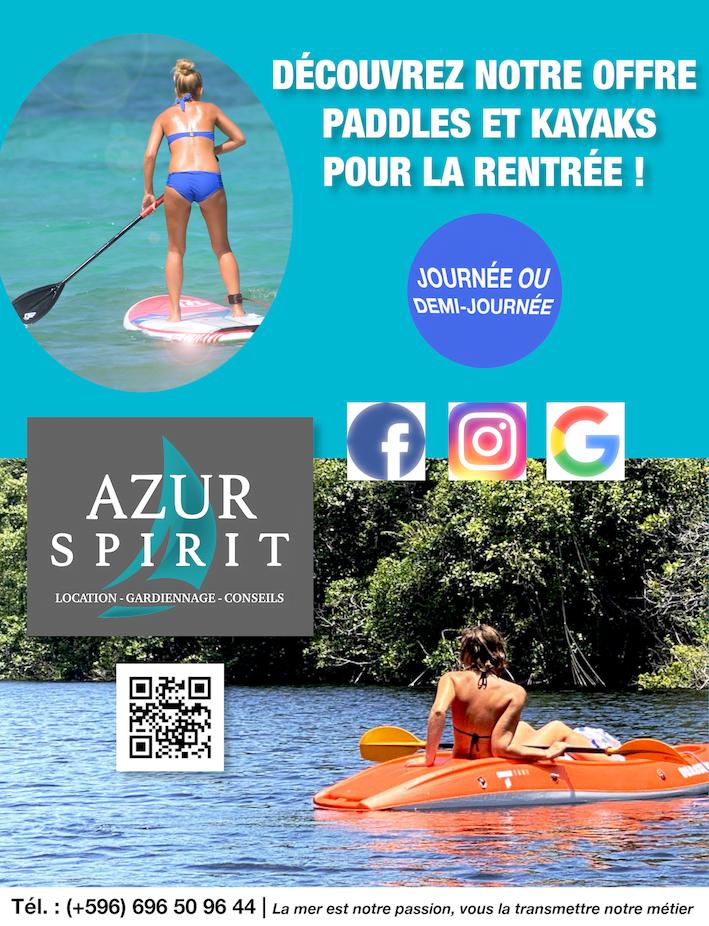 Publicité kayaks paddles Azur Spirit