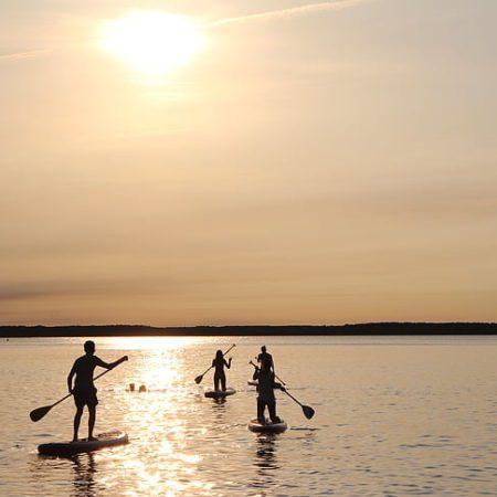 Paddles pagaies coucher de soleil